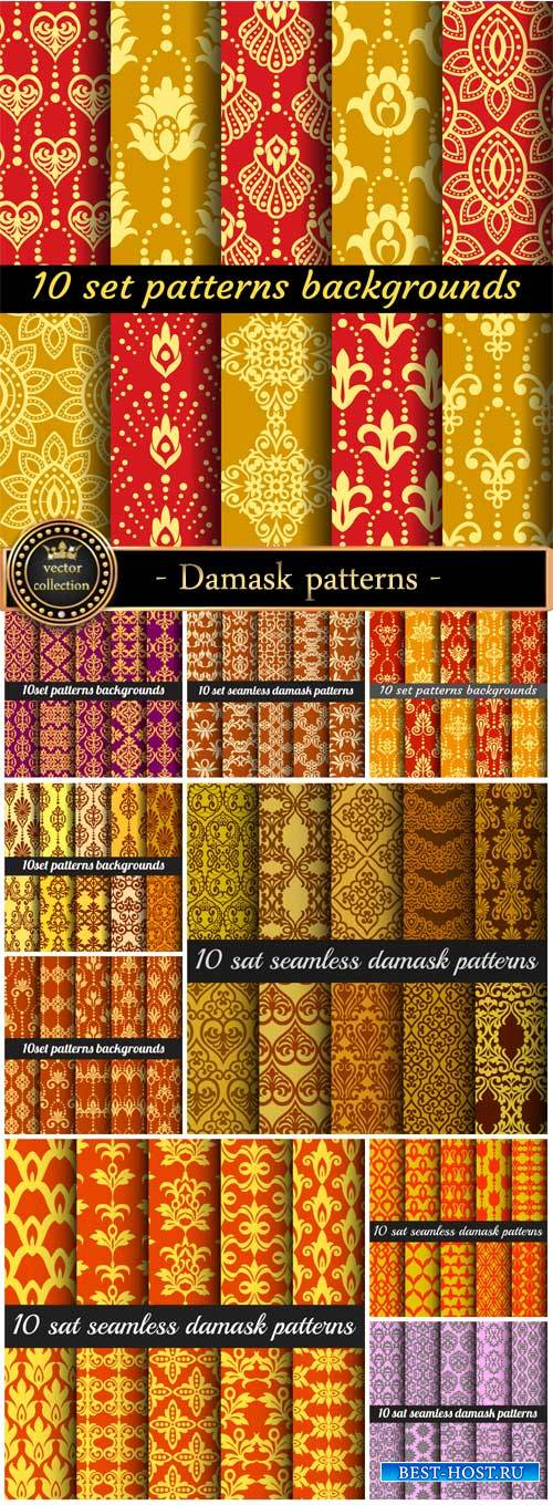 Damask patterns seamless texture vector