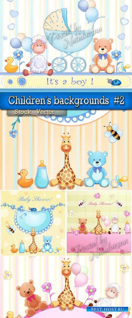 Детские фоны в Векторе с симпотичным Жирафом # 2