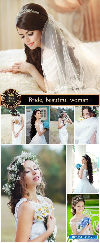 Bride, beautiful woman in a wedding dress - Stock Photo