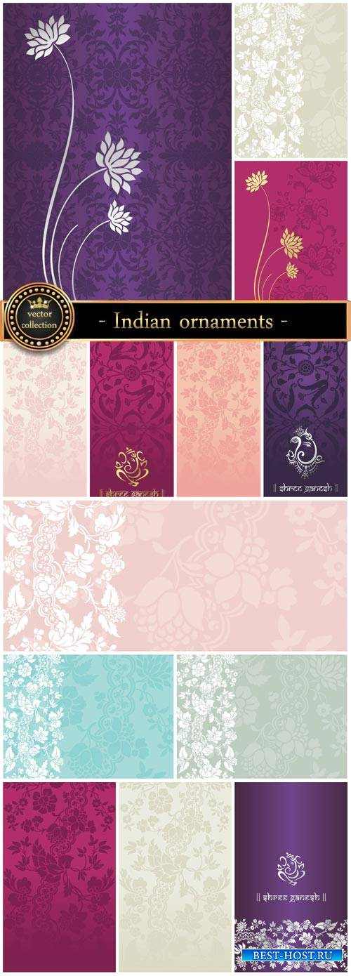 Collection of vector backgrounds with Indian ornaments