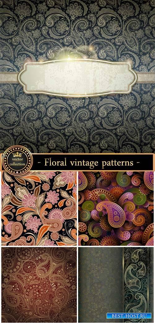 Floral patterns, vintage backgrounds