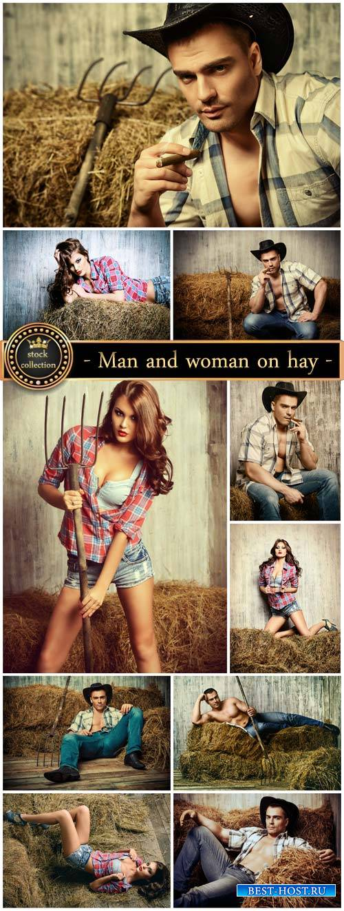 Man and woman on hay, Western style - stock photos