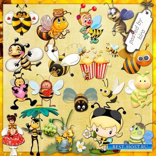 Детский клипарт - Пчелки с медом, пчелки с цветочками и просто затейливые пчёлки