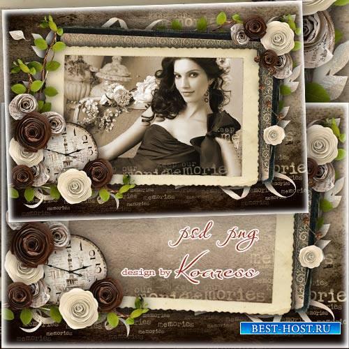 Винтажная романтическая рамка для фото - Фотография из старого альбома