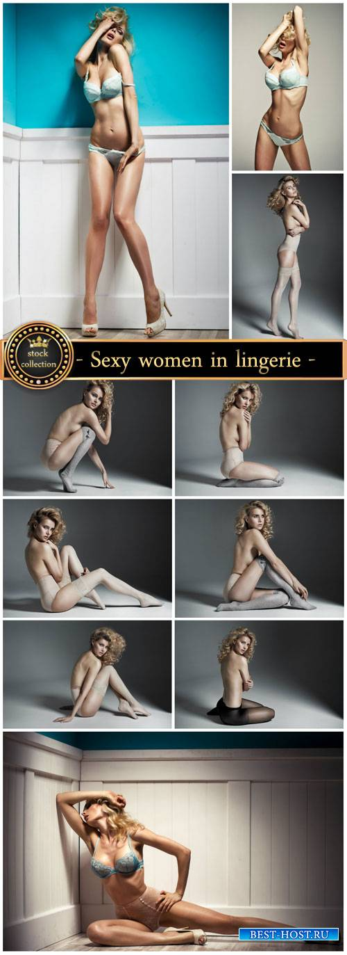 Sexy women in lingerie, naked women - Stock Photo