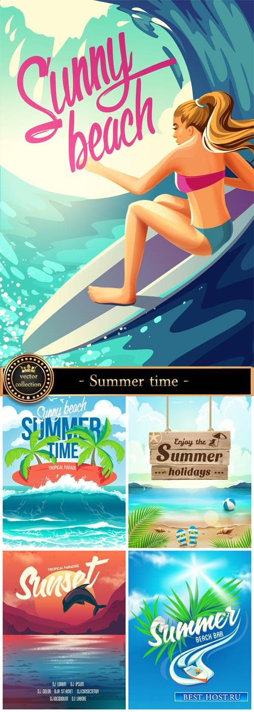 Summer time, sea vacation, vector backgrounds