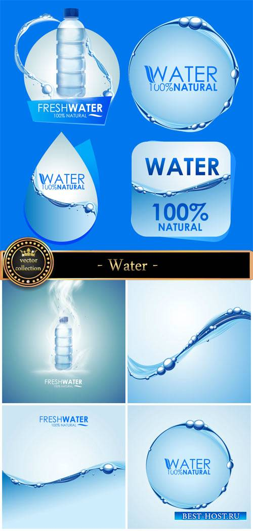 Water vector backgrounds and labels