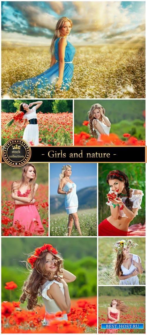 Girls and nature, flower fields - Stock photo