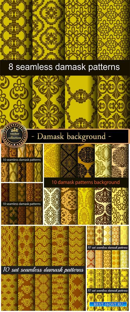 Damask background, vector texture with patterns
