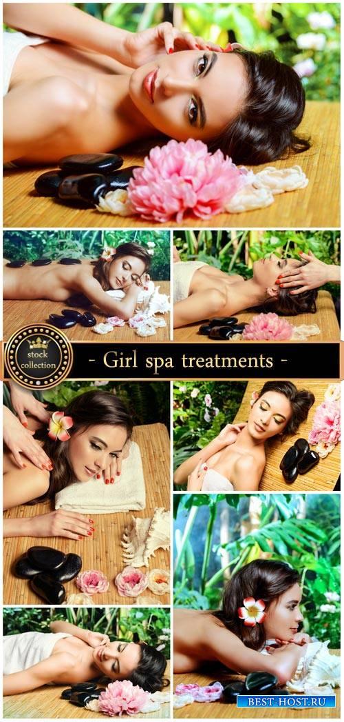 Beautiful girl, spa treatments - stock photos