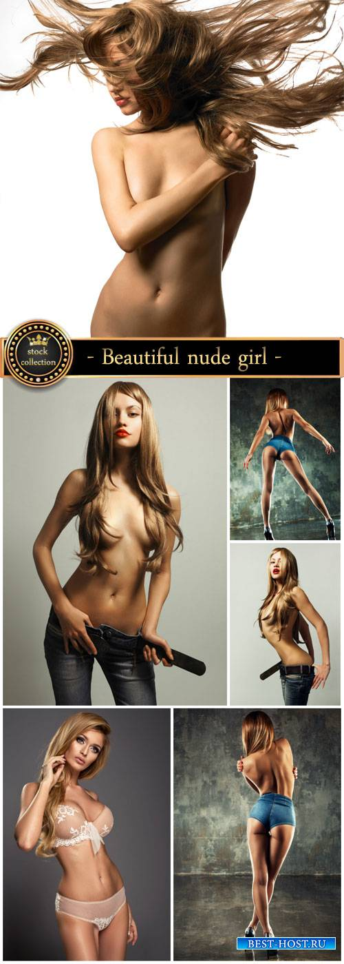 Beautiful nude girl with long hair - Stock Photo