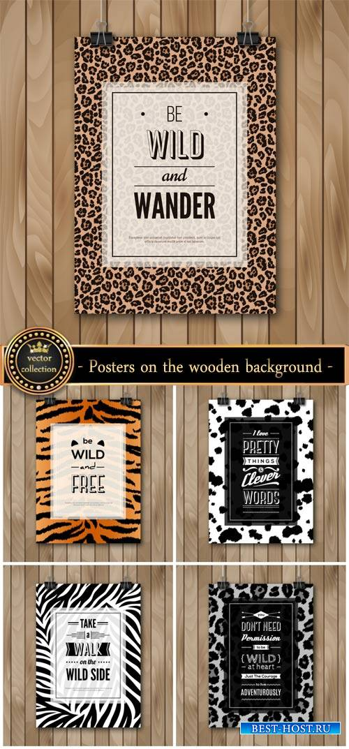 Vector posters on the wooden background