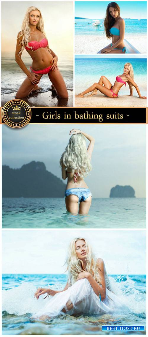 Summer, sea, girls in bathing suits - stock photos