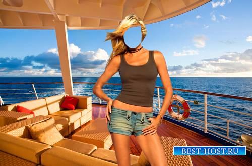 Шаблон для фотошопа  - Девушка на яхте