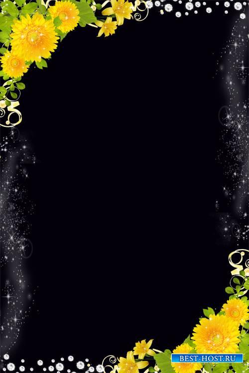 Рамка для фото - Цветы в блёстках