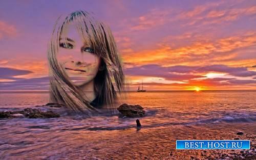 Рамка для фотошоп - Берег моря на закате