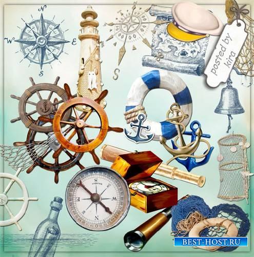 Клипарт - Компасы, штурвалы и другие морские атрибуты