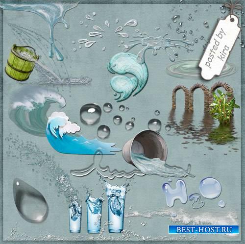 Морской клипарт - Волны, вода, лужи и капли в png
