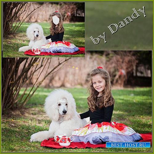 Шаблон для фотошопа – девочка с пуделем