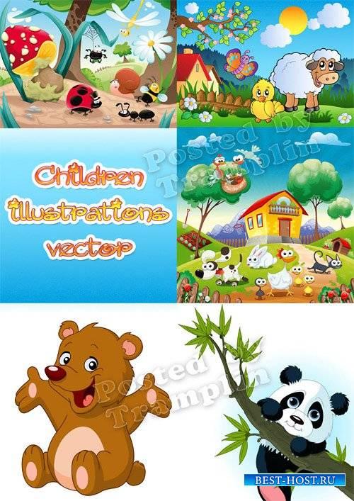 Детские иллюстрации в векторе – Ферма, барашек, цыпленок, мишка