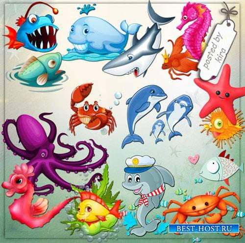 Детский клипарт - Забавные морские животные