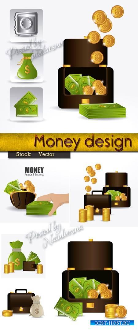 Элементы для Дизайна – Деньги, кошелек, сейф и монеты