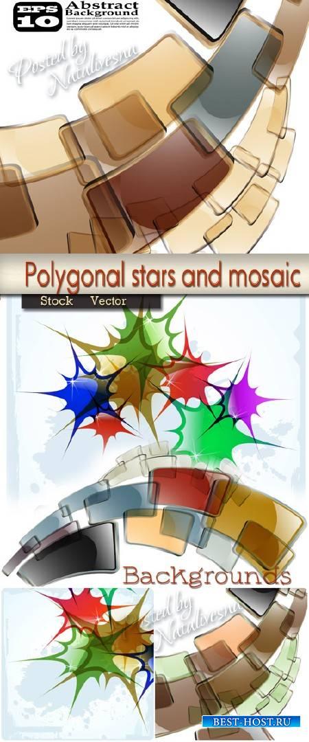 Абстрактные фоны в Векторе  - Многоугольные звезды и мозаика