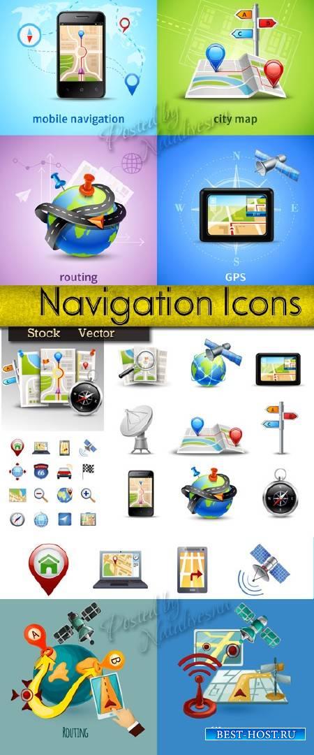 Коллекция иконок в Векторе – GPS - Навигация