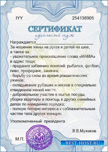 Бланк сертификата - Идеальный муж