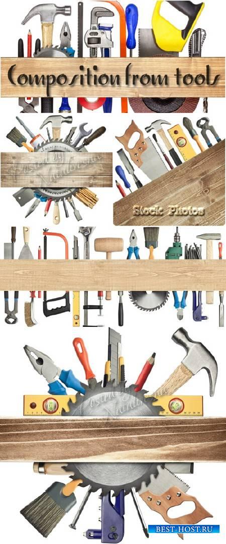 Композиции с инструментами и деревянной доской – Stock photo