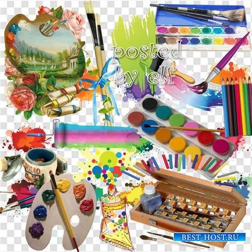 Клипарт в png - Краски, кисти, карандаши