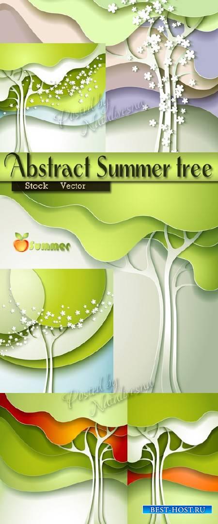Абстрактные нежно – зеленые летние деревья в Векторе
