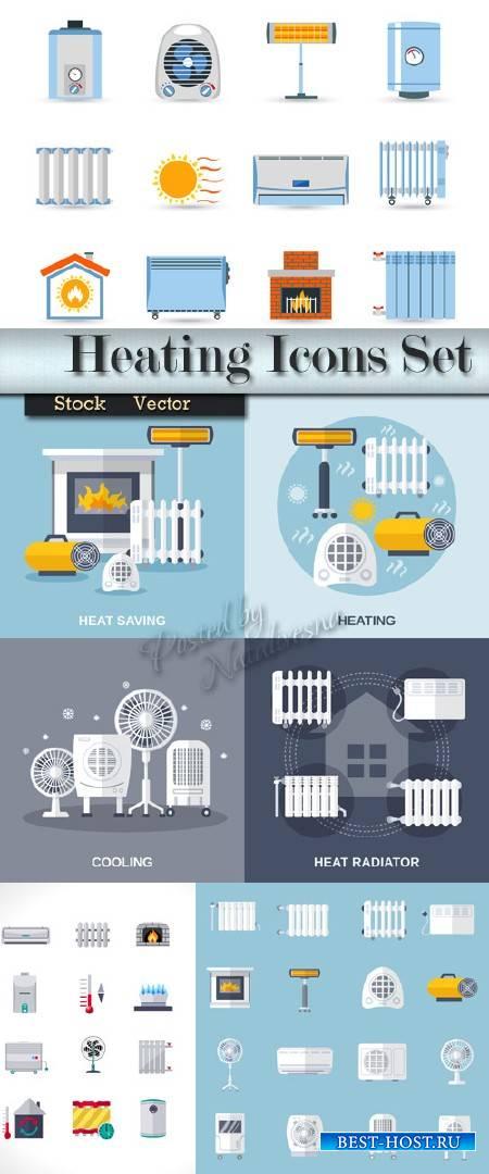 Отопление и охлаждение квартиры - Коллекция Иконок  в Векторе
