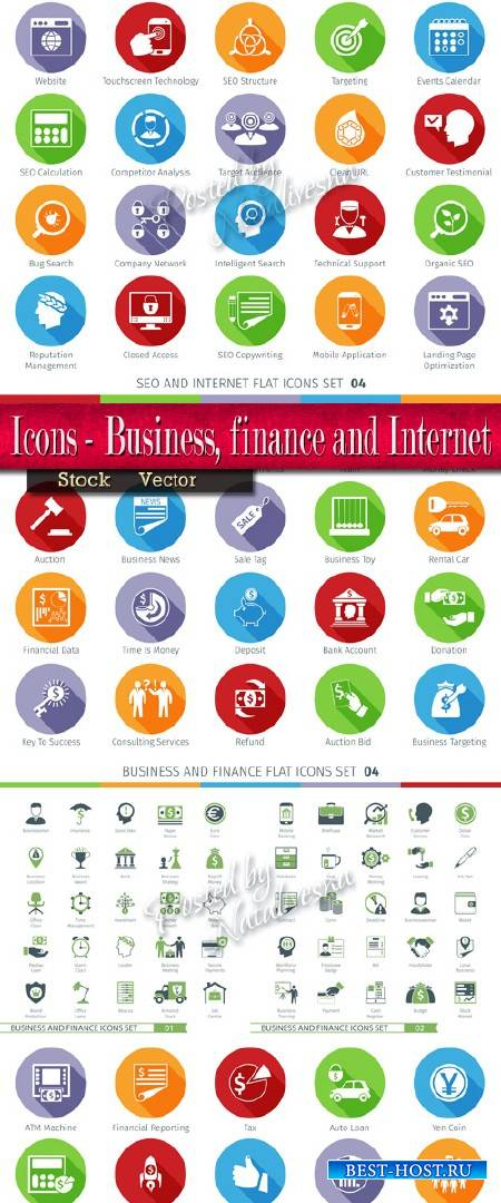 Коллекция иконок в Векторе - Бизнес, финансы и интернет