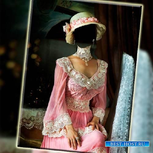 Прекрасный PSD Фотошоп шаблон для девушек - В розовом старинном платье