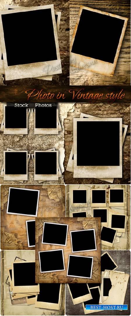 Фото в стиле Винтаж на фоне холста и потертой бумаги – Stock photo