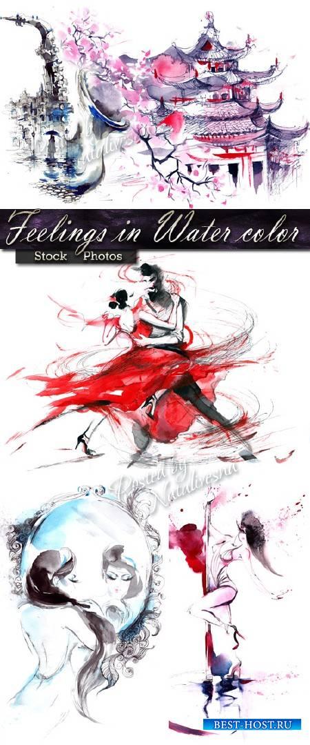 Акварельная мелодия Страстного танца, дождливого города и женской красоты