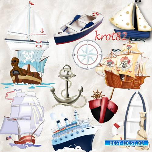 Клипарт на прозрачном фоне  – Корабли, лодки, якорь, компас