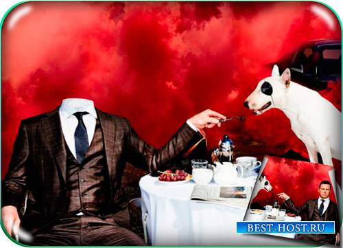 Фотошаблон для фотошопа - Парень кормит питбуля