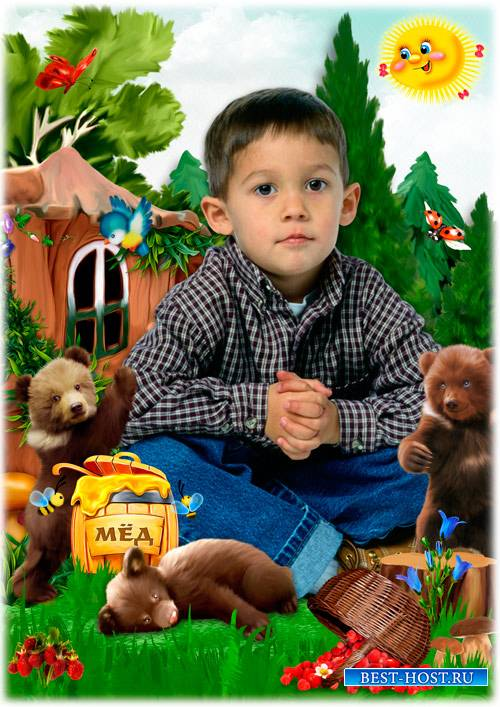 Детская рамка - коллаж - Забавные медвежата