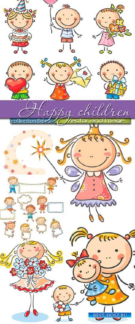 Счастливые дети с шарами, тортом и цветами в Векторе