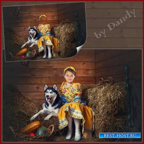 Шаблон для фотошопа - девочка с собачкой хаски