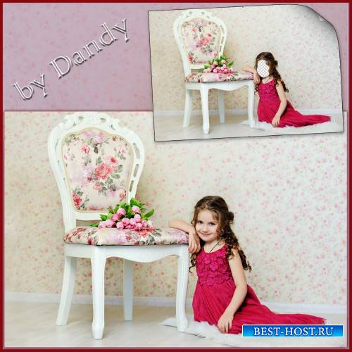 Шаблон для фотошопа - маленькая принцесса с тюльпанами