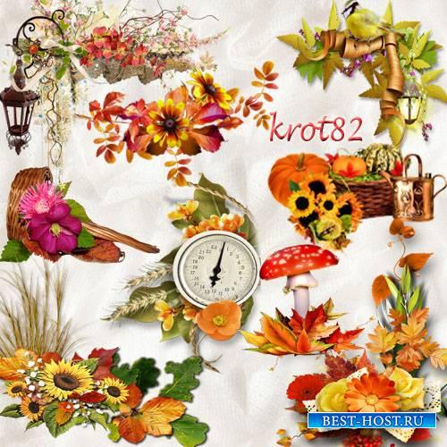 Кластеры на прозрачном фоне  – Осень