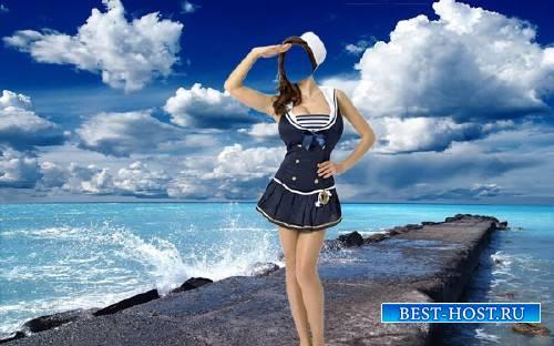 PSD шаблон для девушек - В костюме морячки возле моря