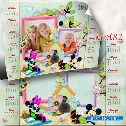 Детский календарь на 2016 год с рамками для фото с Микки Маусом