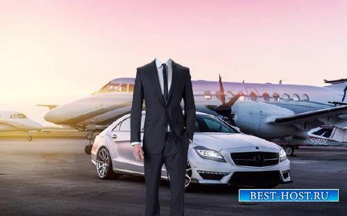 Шаблон для фотошопа - Собственный самолет и дорогое авто