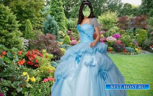 Шаблон для девушек - В голубом наряде в саду