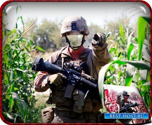 Фотошаблон для фото - Солдат в кукурузном поле
