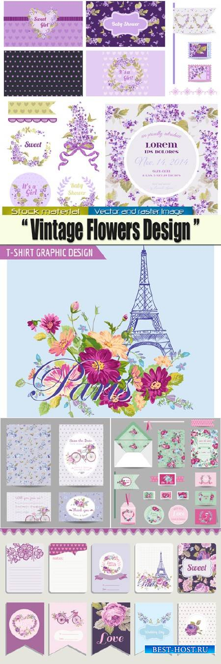 Винтажные цветочные карты и элементы для дизайна в Векторе